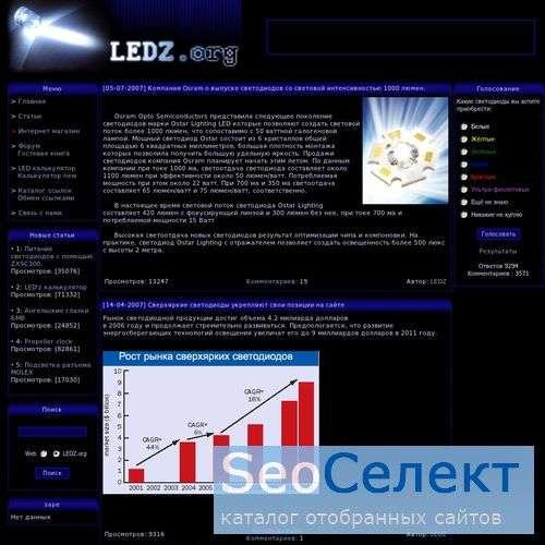 Сверхяркие светодиоды - http://www.ledz.org/